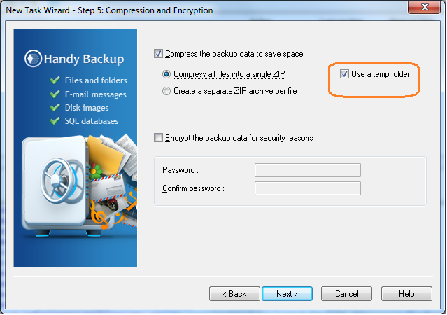 Handy Backup: Comprassion and Encryption