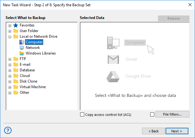 Step 2 - select data for backup in advanced mode