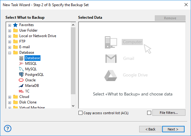 Adding the Database plug-in to backup set