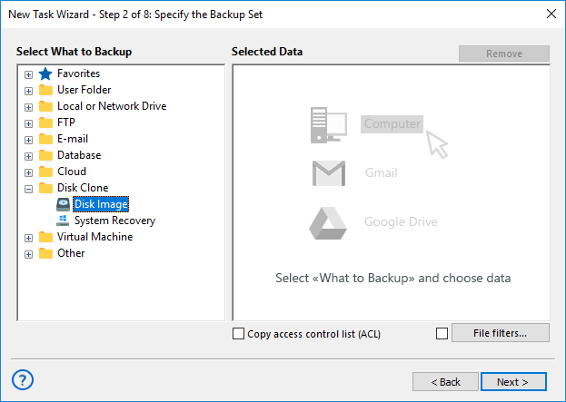 Adding the Disk Image plug-in to backup set