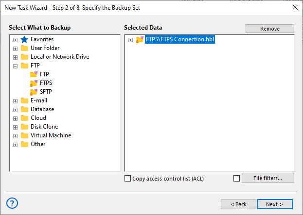Specify backup set FTPS