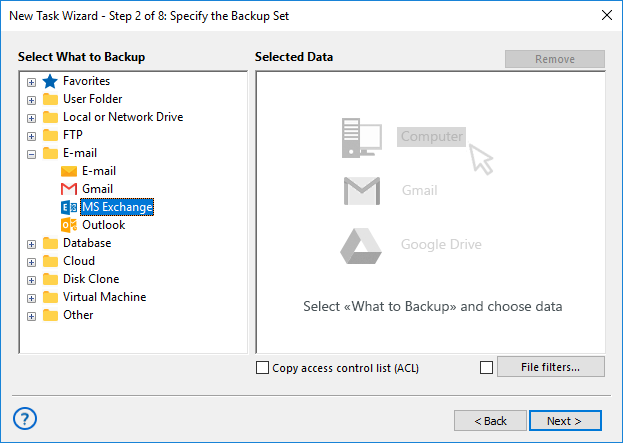 Adding the MS Exchange plug-in to backup set