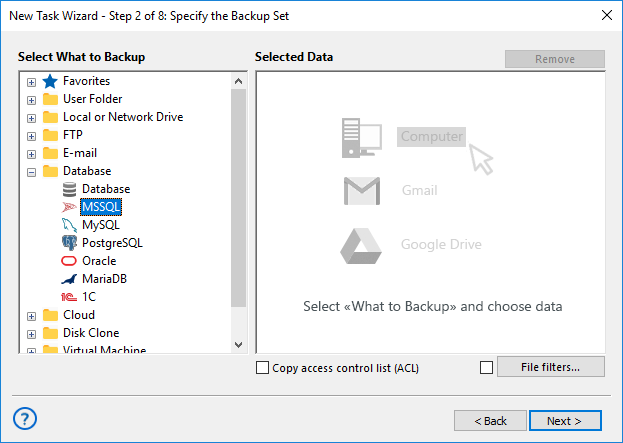 Adding the MSSQL plug-in to backup set