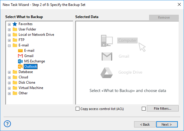 Adding the Outlook Plug-in to Backup Set