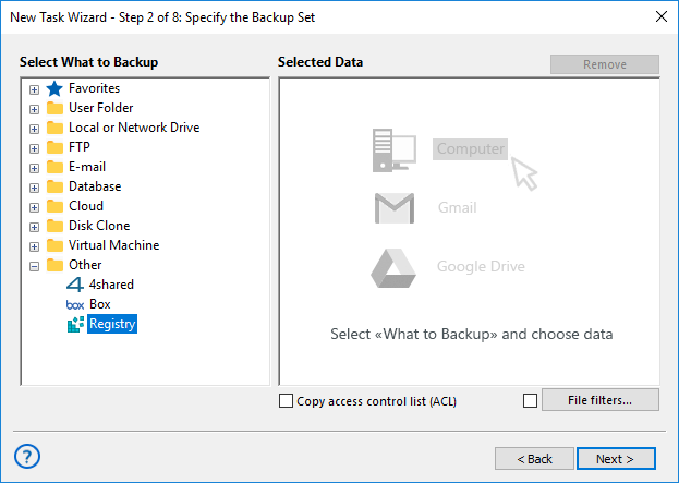 Adding the Registry plug-in to backup set