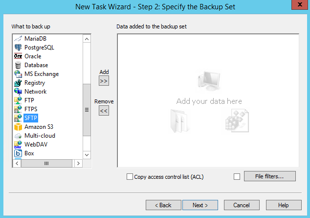Adding the SFTP plug-in to backup set