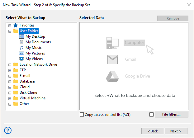 Adding the User Folders plug-in to backup set
