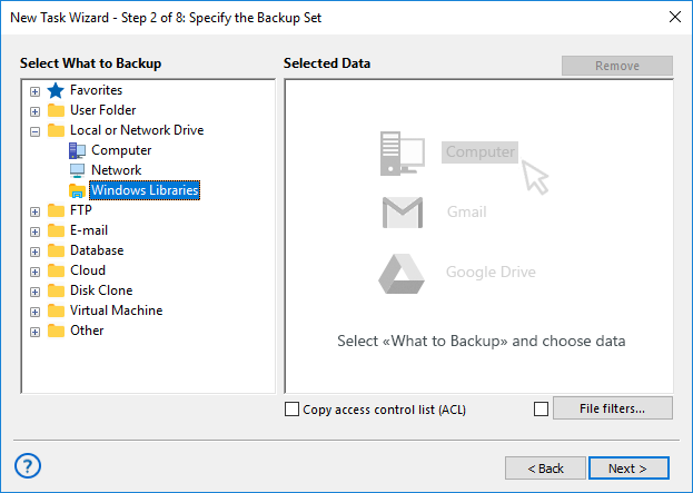 Creating a Configuration for Windows Libraries Backup