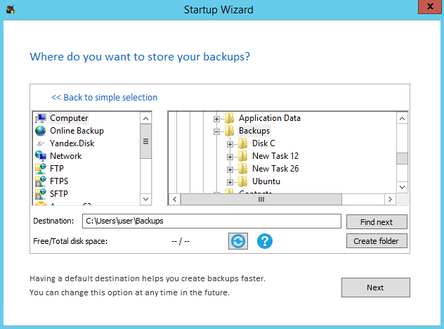 Selecting custom default destination in Startup Wizard