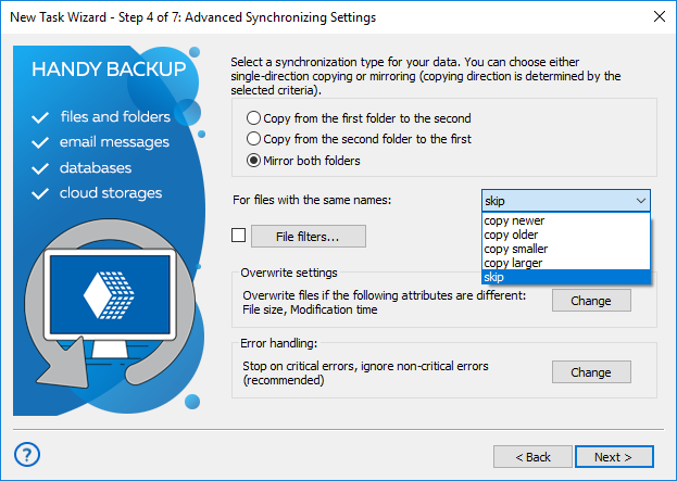 Synchronizing settings to mirror folders