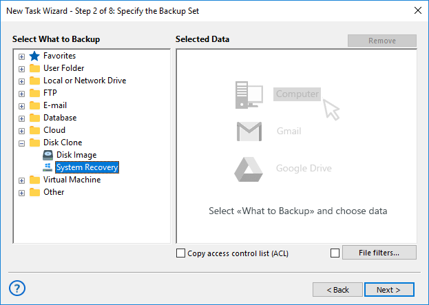 Select a System Recovery data source