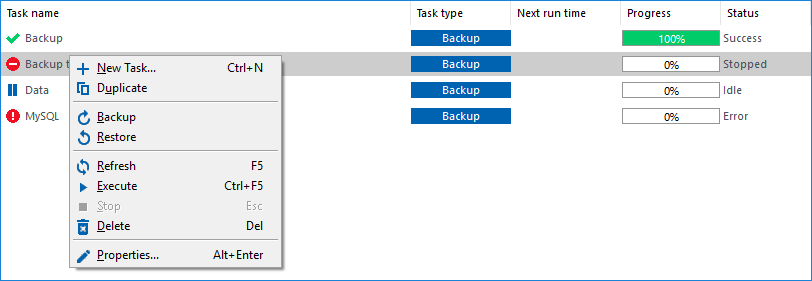 Task context menu in the Task View pane