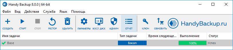Отчеты о резервном копировании на панели в Handy Backup