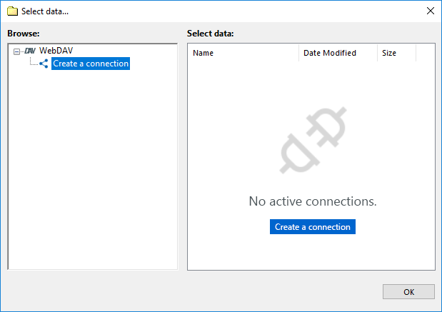 Create a connection via WebDAV
