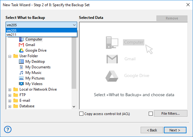 Selecting workstation in Server′s dropdown menu