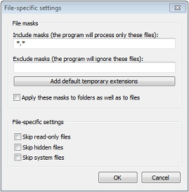 Select whether to backup hidden or system files