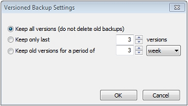 Set up timestamps for backup