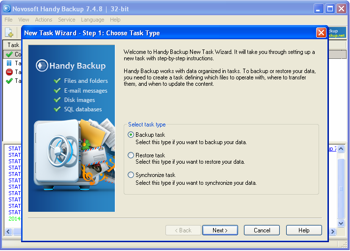 File, disk image and database backup software for Windows computers