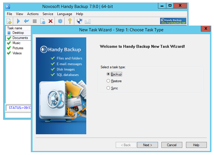 File, disk image and database backup software for Windows computers.