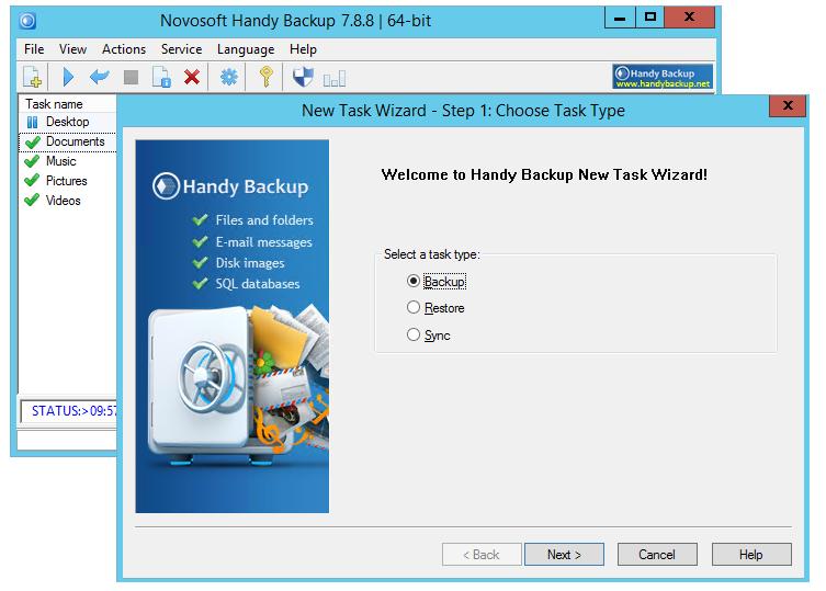 Backup of server data, including SQL databases, MS Exchange, Oracle, IBM DB2.