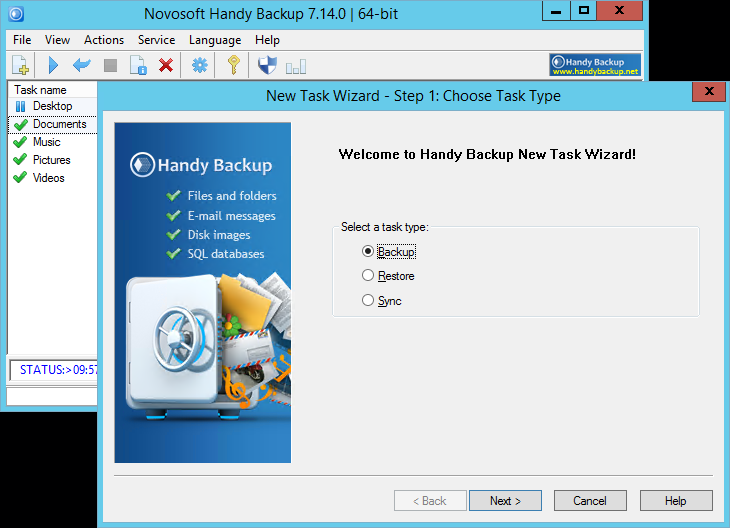 Handy Backup Home Standard full screenshot