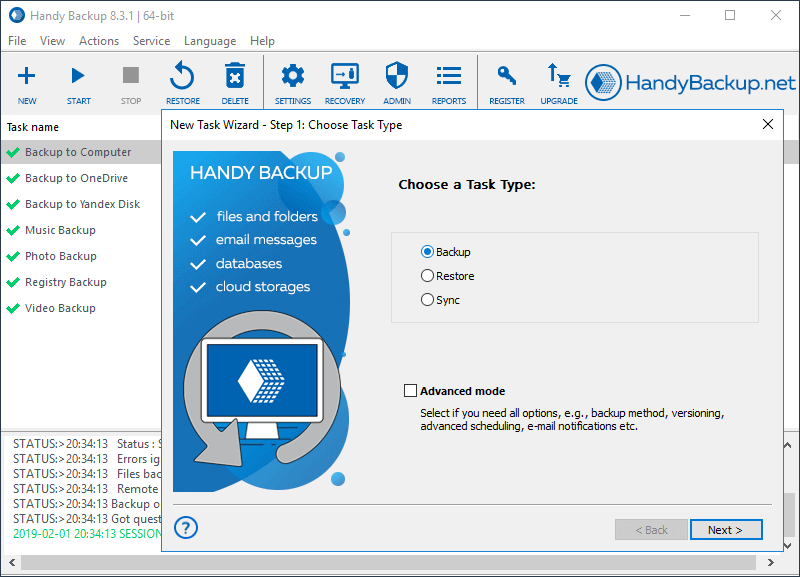 Windows 7 Handy Backup Server Network 8.0.5 full