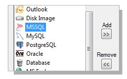 Selecting MSSQL Backup in Handy Backup