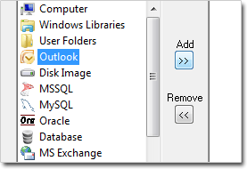Selecting Outlook Backup in Handy Backup