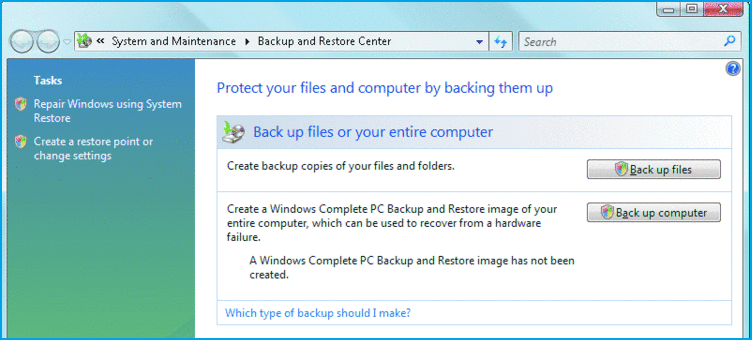 Windows Vista Backup and Restore Built-in Tool